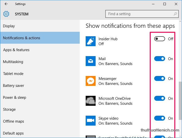 iếp tục kéo xuống phần Show notifications from these apps và làm tương tự