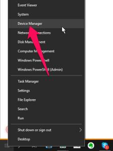 Trên Windows 10, nhấn chuột phải lên nút Start chọn Device Manager