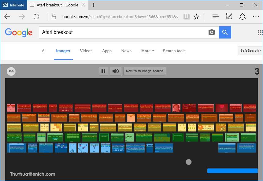 Chơi game Atari Breakout trên Google hình ảnh