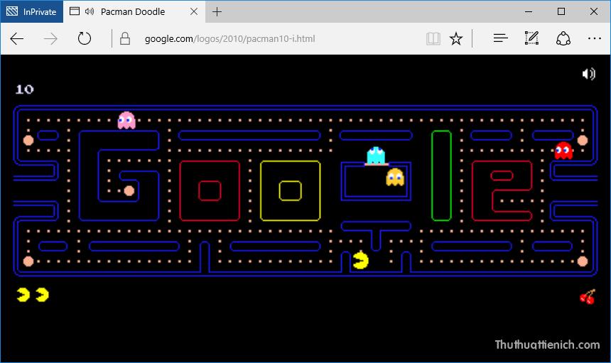 Chơi game Pac-Man trên Google tìm kiếm