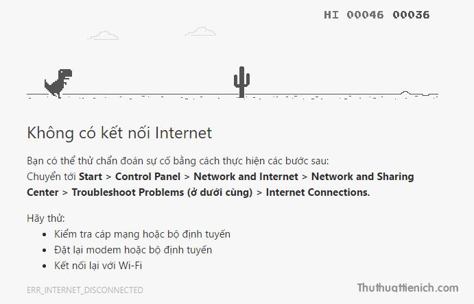 Game T-Rex chơi trên Google Chrome khi mất kết nối internet