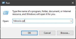 Nhấn tổ hợp phím Windows + R rồi nhập lệnh sau: hdwwiz.cpl