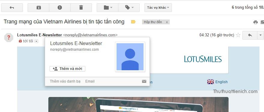 Xác minh email của người gửi trước khi nhấn vào liên kết hoặc tải về tập tin đính kèm