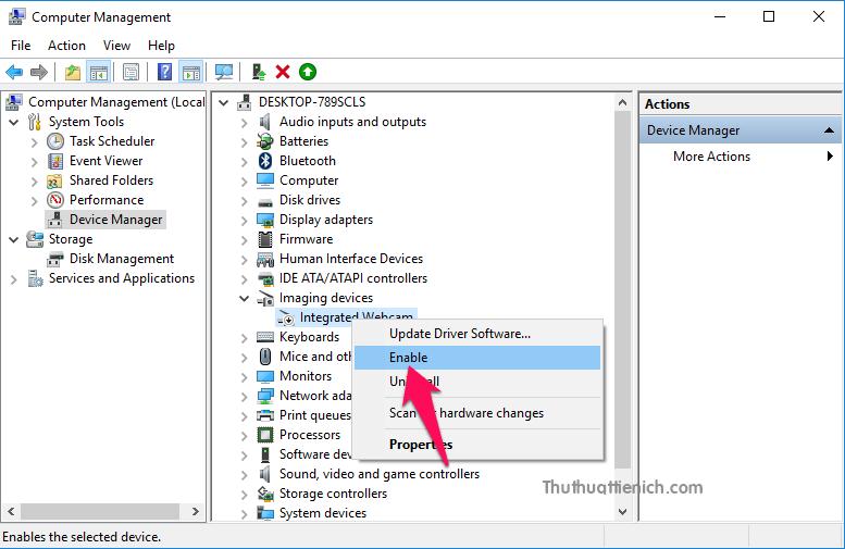 Để bật lại webcam, bạn chỉ cần nhấn chuột phải lên driver webcam chọn Enable