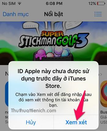 Mở App Store, nhấn nút Xem xét