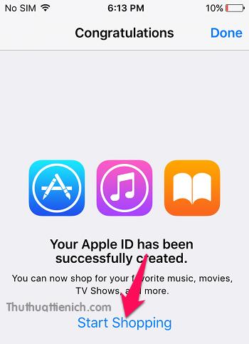 Thông báo khởi tạo tài khoản Apple ID US thành công