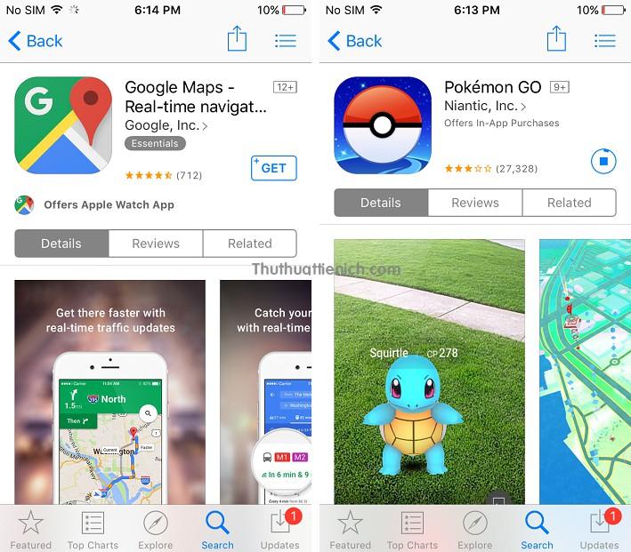 Ứng dụng Google Maps và game Pokémon GO trên Store US