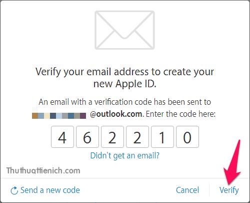 Nhập mã xác nhận (có thể copy ->paste) rồi nhấn nút Verify