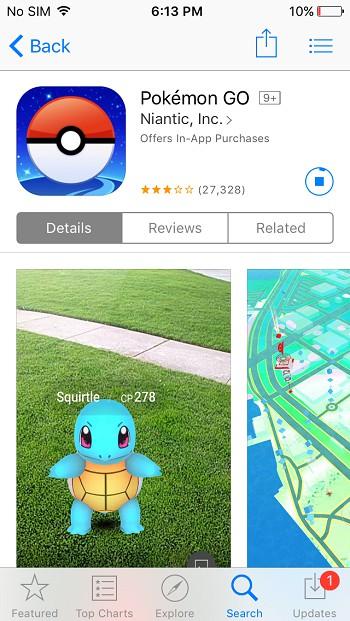 Tìm kiếm với từ khóa Pokemon Go sau đó nhấn nút Get để tải game
