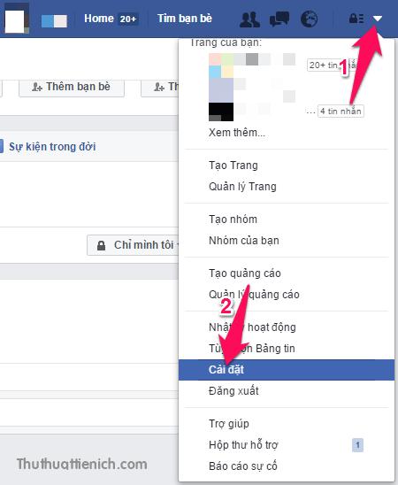 Mở Cài đặt trên Facebook