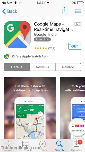 Tìm kiếm với từ khóa Google maps rồi nhấn nút GET để tải ứng dụng