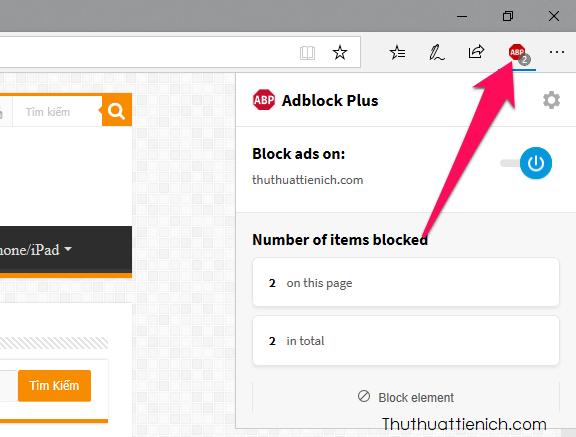 Mặc định sau khi được cài đặt, AdBlock Plus sẽ tự động chặn quảng cáo trên các trang web bạn truy cập
