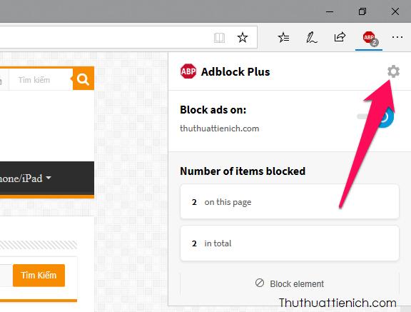 Nhấn chuột vào biểu tượng AdBlock Plus, nhấn tiếp vào nút bánh răng