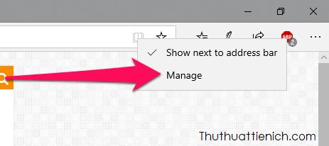 Nhấn chuột phải lên biểu tượng Adblock Plus chọn Manage