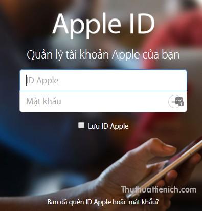Đăng nhập với tài khoản Apple ID của bạn