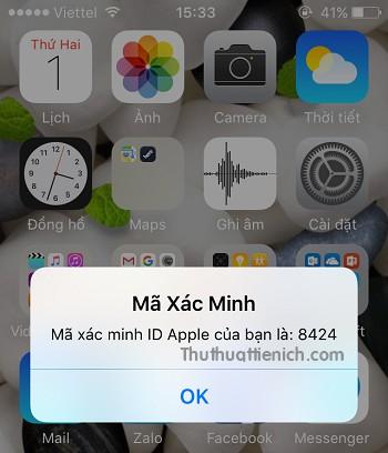 Lúc này sẽ có một mã xác minh được gửi đến thiết bị IOS của bạn