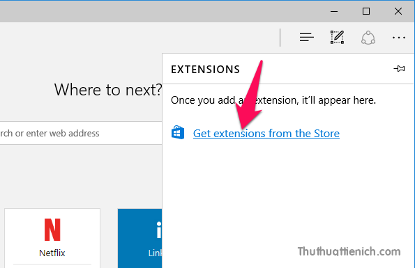 Tiếp tục nhấn vào dòng Get extensions from the Stor