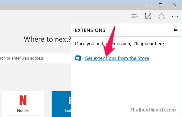 Nhấn tiếp vào dòng Get extensions from the Store