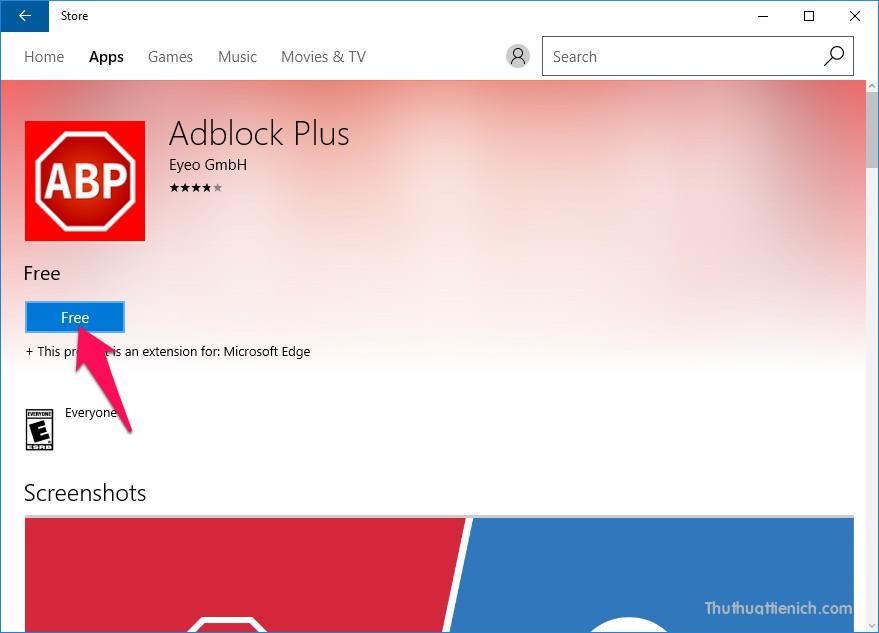 Bạn nhấn vào tiện ích Adblock Plus để chọn, nhấn tiếp vào nút Free để cài đặt