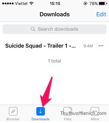 Lúc này chuyển qua tab Download hoặc Files, bạn sẽ thấy tập tin vừa tải về