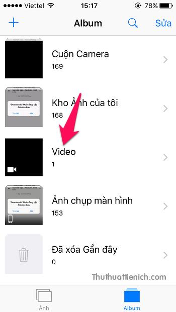 Lúc này mở Ảnh -> Album bạn sẽ thấy video vừa tải về