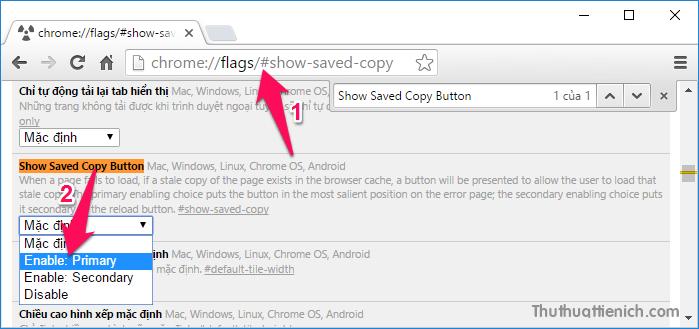 Trong tùy chọn Show Saved Copy Button, bạn nhấn vào khung Mặc định, chọn Enable: Primary