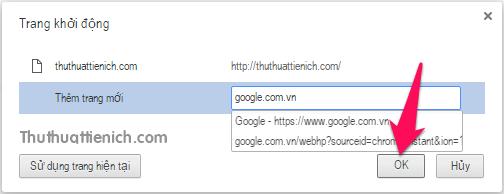 Nhập các trang web muốn thêm rồi nhấn nút OK