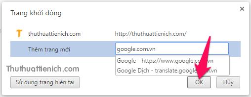 Nhập các website muốn mở cùng trình duyệt rồi nhấn nút OK