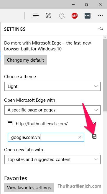 Nhập các trang web muốn mở cùng trình duyệt Edge