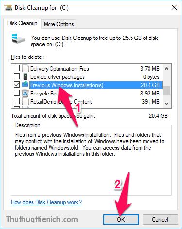 Tích vào phần Previous Windows installation(s) rồi nhấn nút OK
