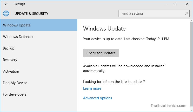 Không tìm thấy bản cập nhật Anniversary trong Windows Update