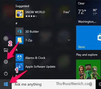 Nhấn nút Start menu hoặc nút Windows trên bàn phím chọn Settings (hình bánh xe)