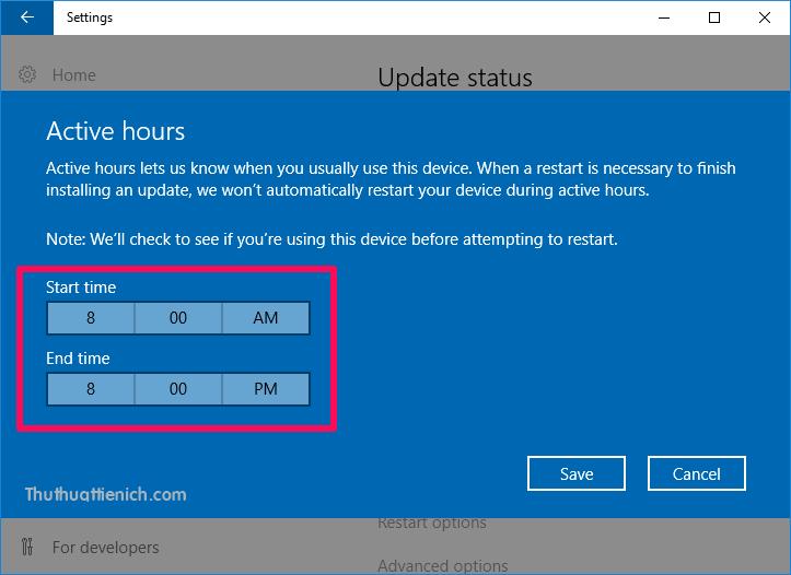 Thay đổi khoảng thời gian bạn muốn Windows không tự động khởi động lại trong ngày (tối đa 12 tiếng)