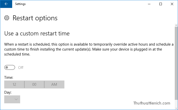 Restart Options giúp ghi đè Active Hours