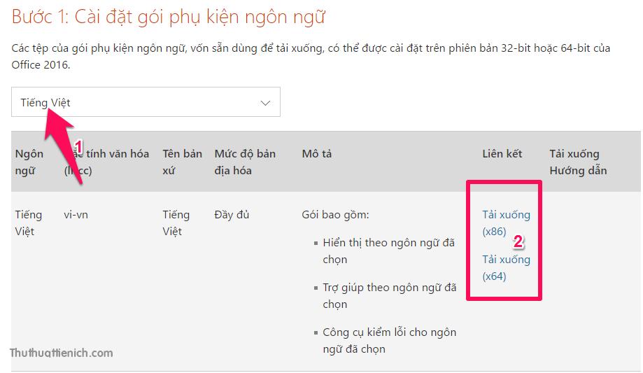 Tải về gói ngôn ngữ tiếng Việt cho Office 2016