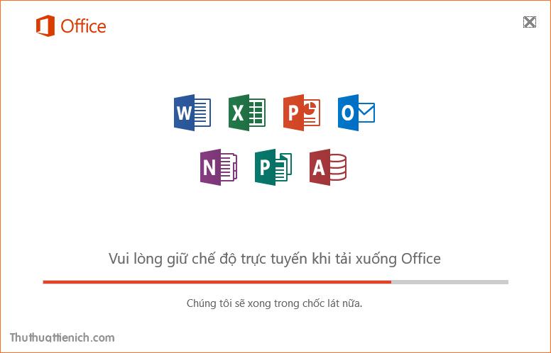 Chờ một chút để gói ngôn ngữ tiếng Việt cho Office 2016 được cài đặt