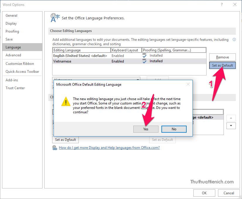 Nhìn sang bên phải trong phần Choose Editing Languages nhấn nút Set as Default