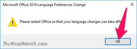 Bạn phải khởi động lại ứng dụng Office để thay đổi có hiệu lực