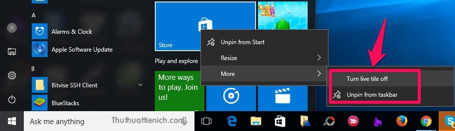 Tắt Live Tiles và gỡ bỏ Windows Store