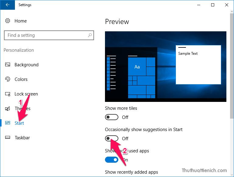 Tắt đề xuất ứng dụng trong Start menu