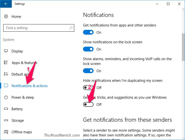 Từ chối nhận các khuyến nghị từ Microsoft