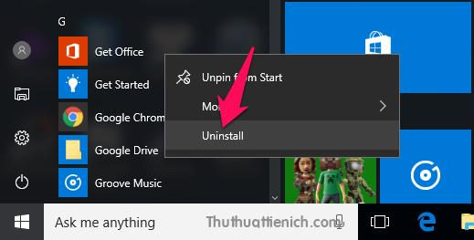 Gỡ ứng dụng Get Office trong Start menu