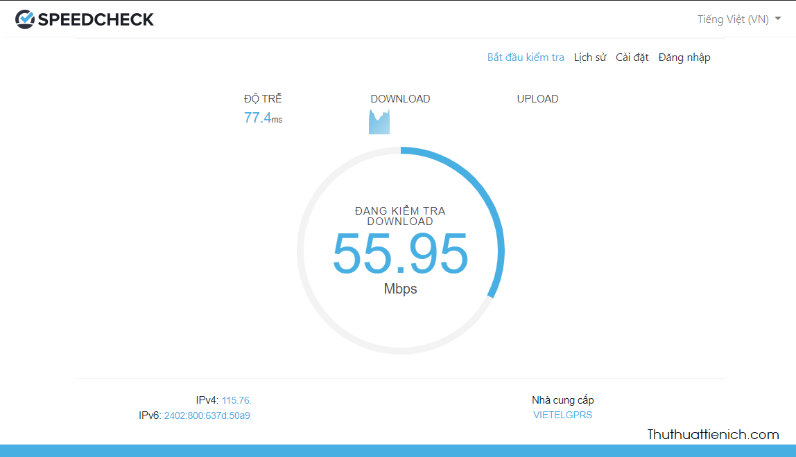 SpeedCheck sẽ kiểm tra lần lượt tốc độ download và tốc độ upload