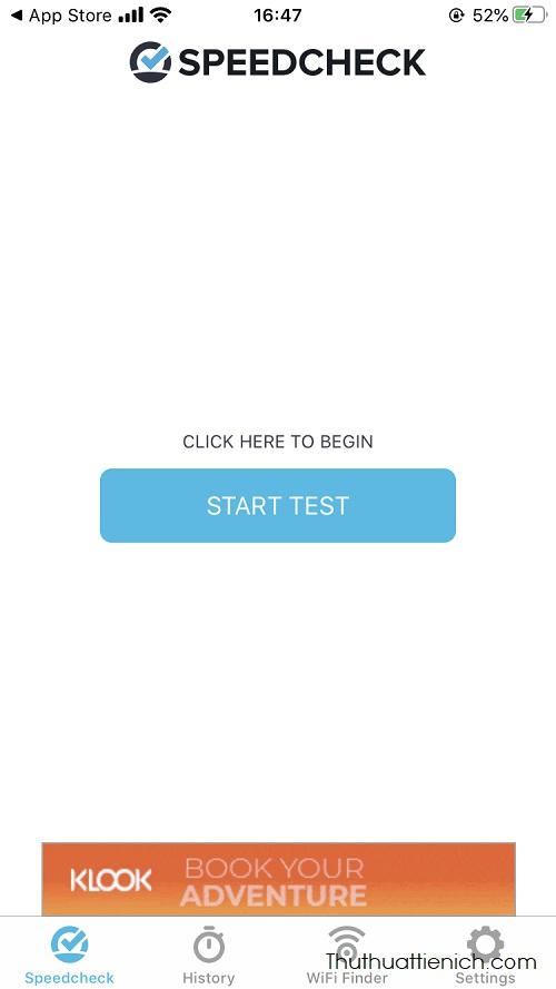 Nhấn nút Start Test