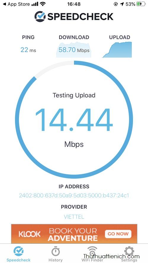 Cũng như cách kiểm tra trên máy tính, SpeedCheck sẽ lần lượt kiểm tra tốc độ download, upload và ping