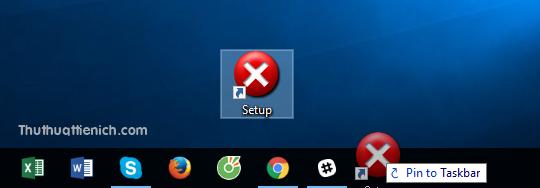 Lúc này bạn chỉ cần kéo shortcut xuống thanh taskbar