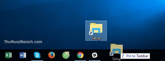 Lúc này bạn chỉ cần kéo shortcut thư mục xuống thanh Taskbar như bình thường