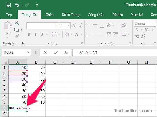 Công thức phép tính trừ trong Excel