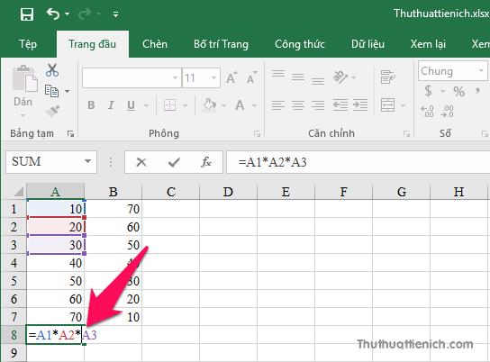 Công thức phép tính nhân trong Excel