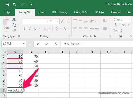 Công thức phép tính chia trong Excel